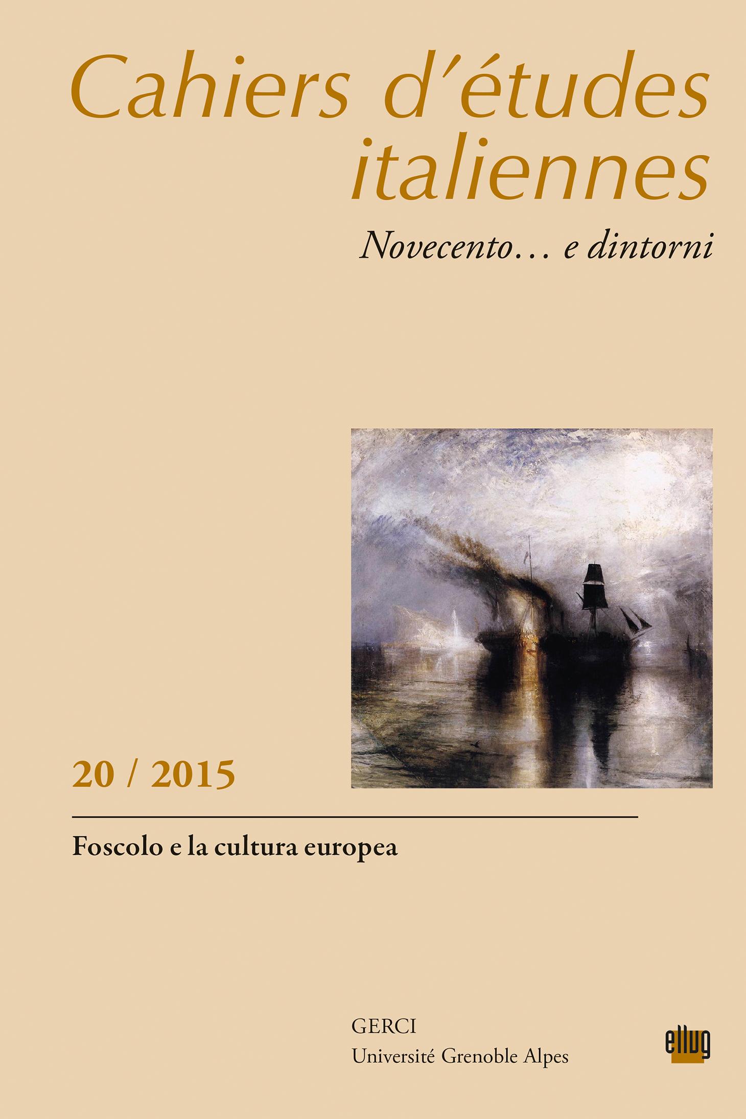 Couverture Cahiers d'études italiennes 20 - Foscolo
