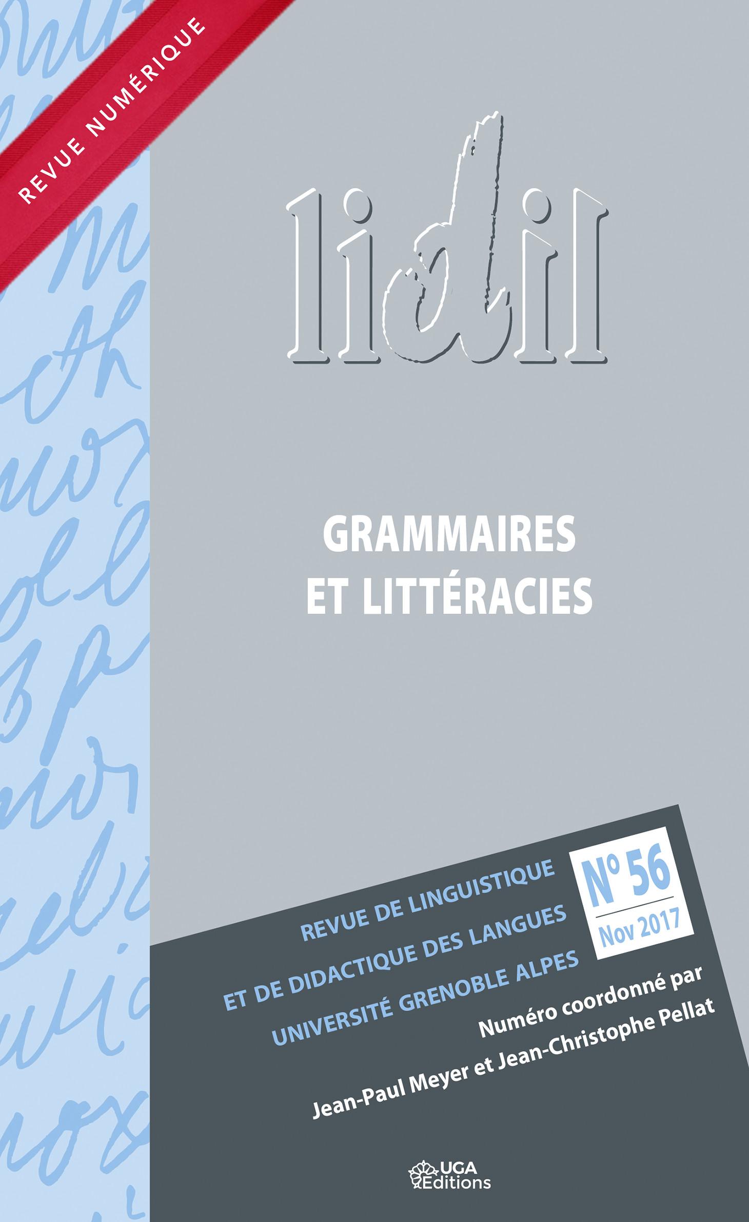 Couverture Lidil 56 Grammaires et littéracies