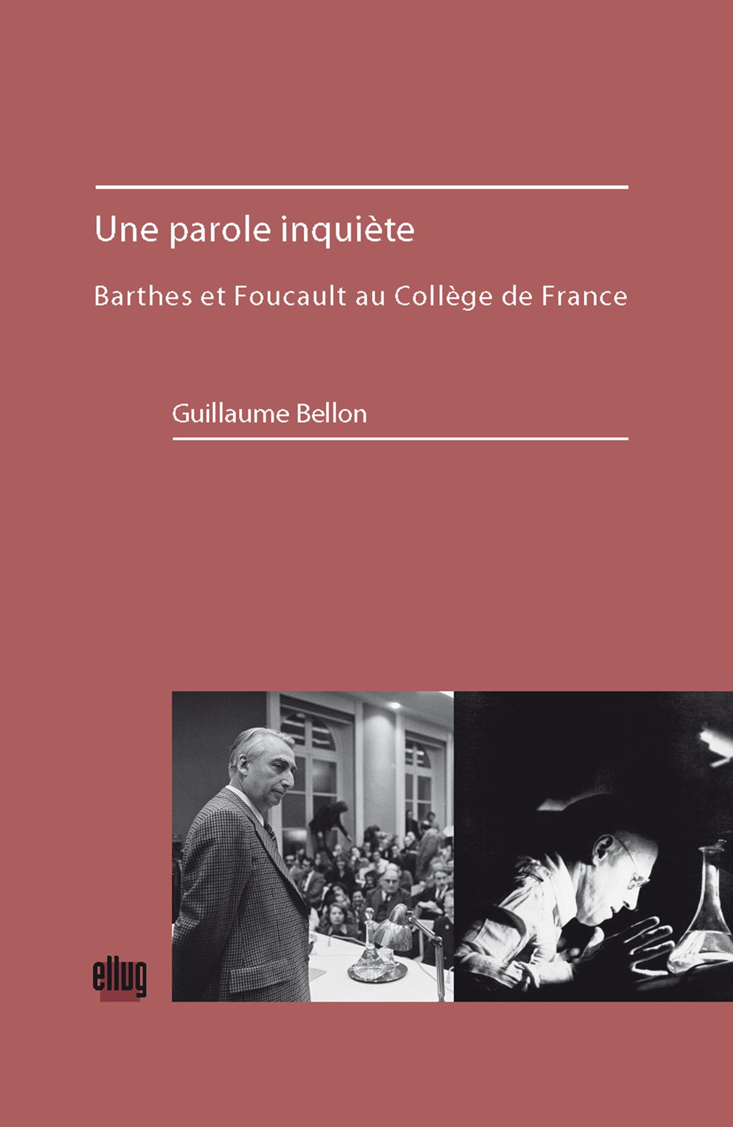 Couverture Une parole inquiète - Barthes et Foucault